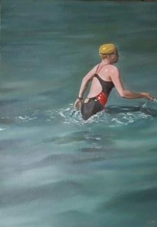 Ins Wasser. Öl auf Leinwand, 60 x 80 cm, 2017