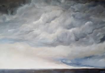 Vor dem Sturm. Öl auf Leinwand, 100 x 70 cm, 2019