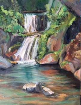 Wasserfall bei Mühlen. Öl auf Malplatte, 18 x 24 cm, 2020