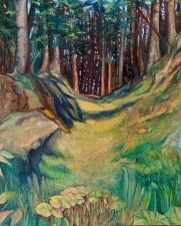 Wald bei Mühlen. Öl auf Malplatte. 24 x 30 cm, 2020