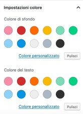 impostazioni colore gutenberg