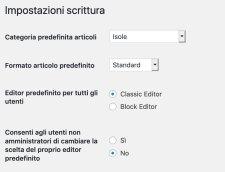 attivare classic editor