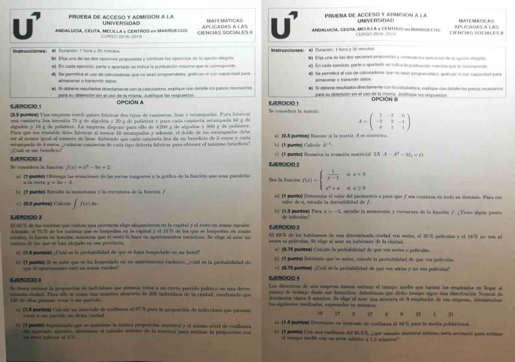 Selectividad Descarga Solución Examen Matemáticas Cc Sociales Ii Junio 2019