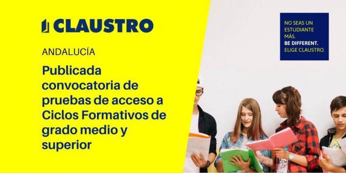 Convocatoria de las pruebas de acceso a los ciclos formativos de grado medio y grado superior en Andalucía 2020