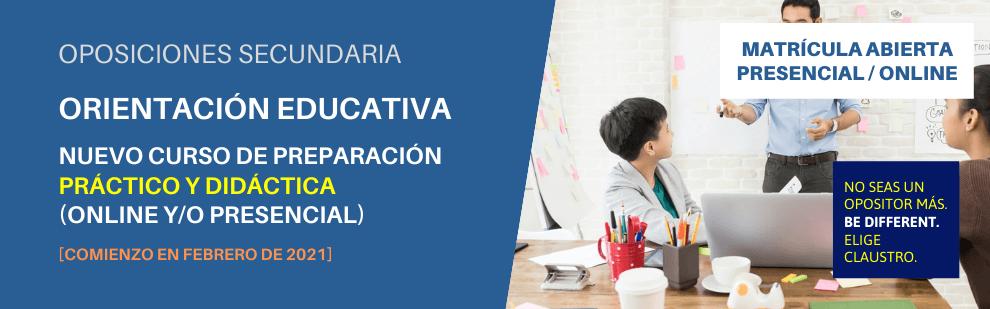 Oposiciones de Orientación Educativa de Secundaria (curso de preparación del ejercicio práctico y didáctica) - CLAUSTRO