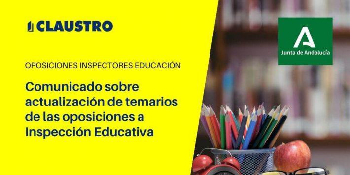 LaConsejería de Educación y Deporte de la Junta de Andalucía ha publicado un comunicado sobre contenido de temarios de las oposiciones a Inspección Educativa.