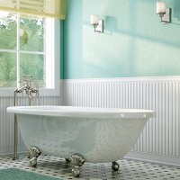 Luxury 60 inch Clawfoot Tub with Vintage Tub Design in White, includes Ball and Claw Feet and Drain, from The Laughlin Collection