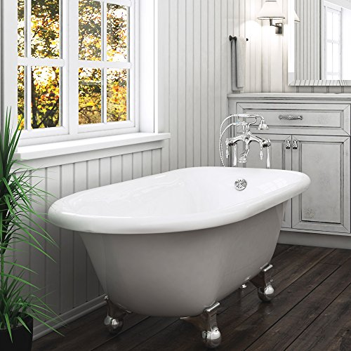 luxury 60 inch clawfoot tub with vintage tub design in white includes polished chrome cannonball