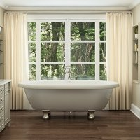 Luxury 72 inch Clawfoot Tub with Vintage Tub Design in White, Includes Brushed Nickel Cannonball Feet and Drain, From The Northfield Collection