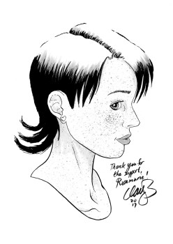 July 2017 sketch of Wren (depression comix) won by Rosemarie.