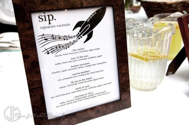 wedding custom cocktail menu