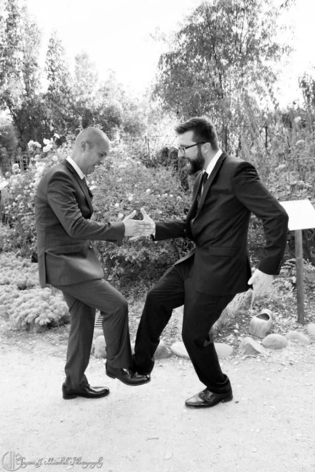 fun groom and best man photograph