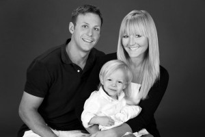 BW family of three in studio