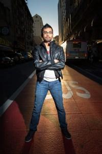 Dramatically lit portrait in downtown San Francisco