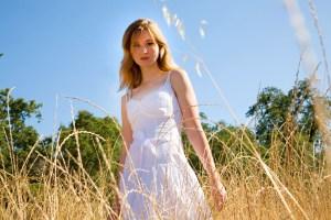 Girl in a dry field in Glen Ellen