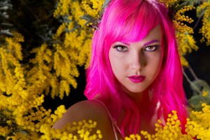 Girl with pink hair and Mimosa blossoms