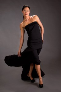 Fashion image of woman in black dress