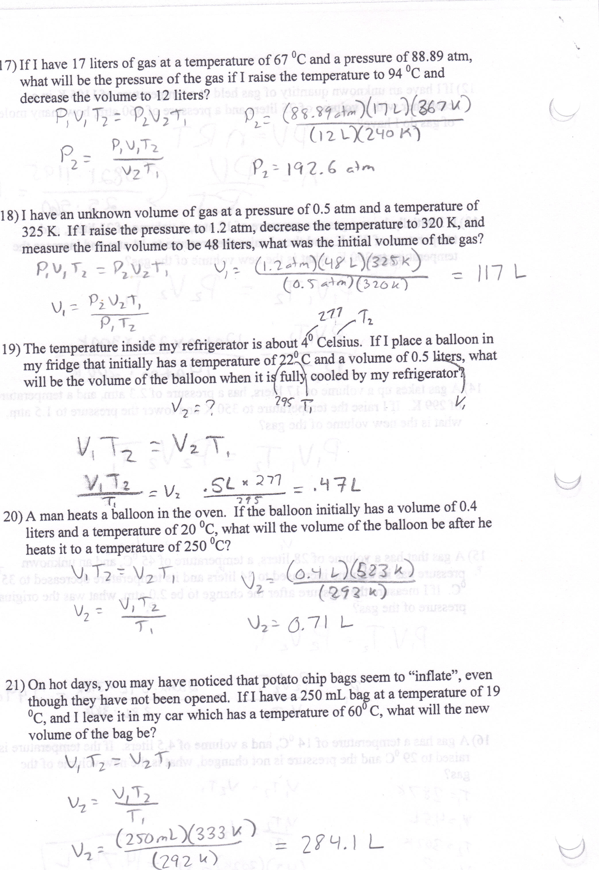 Worksheet Gas Laws