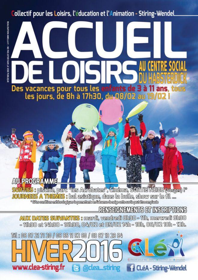 Le tract des accueils de loisirs hiver 2016 sera distribué dès ce mardi dans les écoles de Stiring-Wendel et Forbach