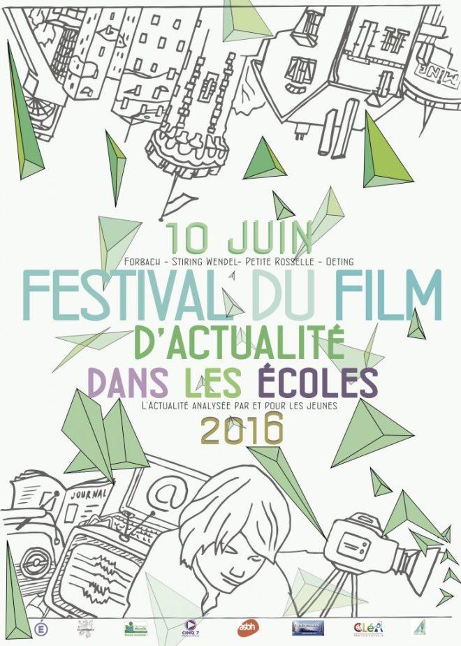 L'affiche de la première édition du Festival du Film d'actualité dans les écoles, réalisée par Pierre Oswald.