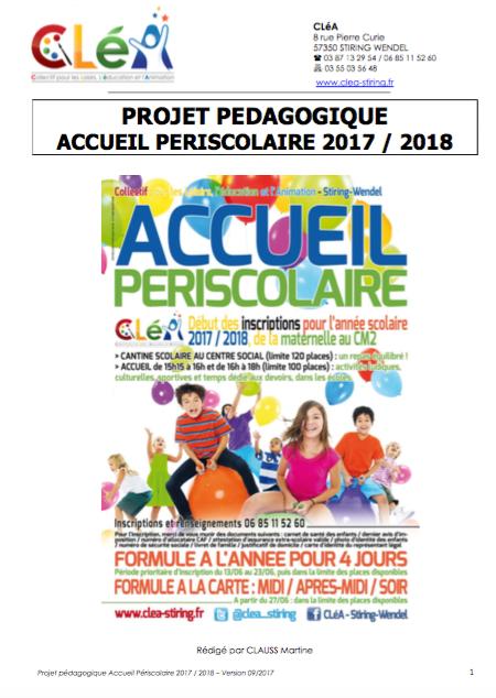 Accueil périscolaire 2017 – 2018 : le projet pédagogique