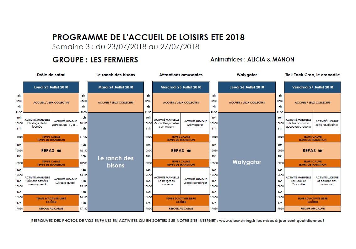 Planning des activités de l'accueil de loisirs Juillet 2018, semaine 3/3