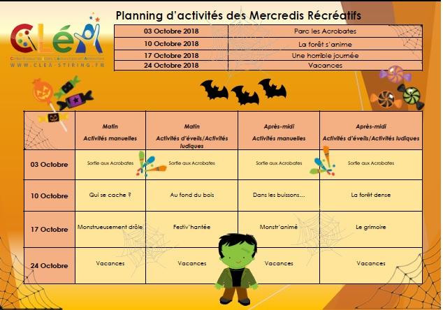 Planning des mercredis récréatifs octobre 2018