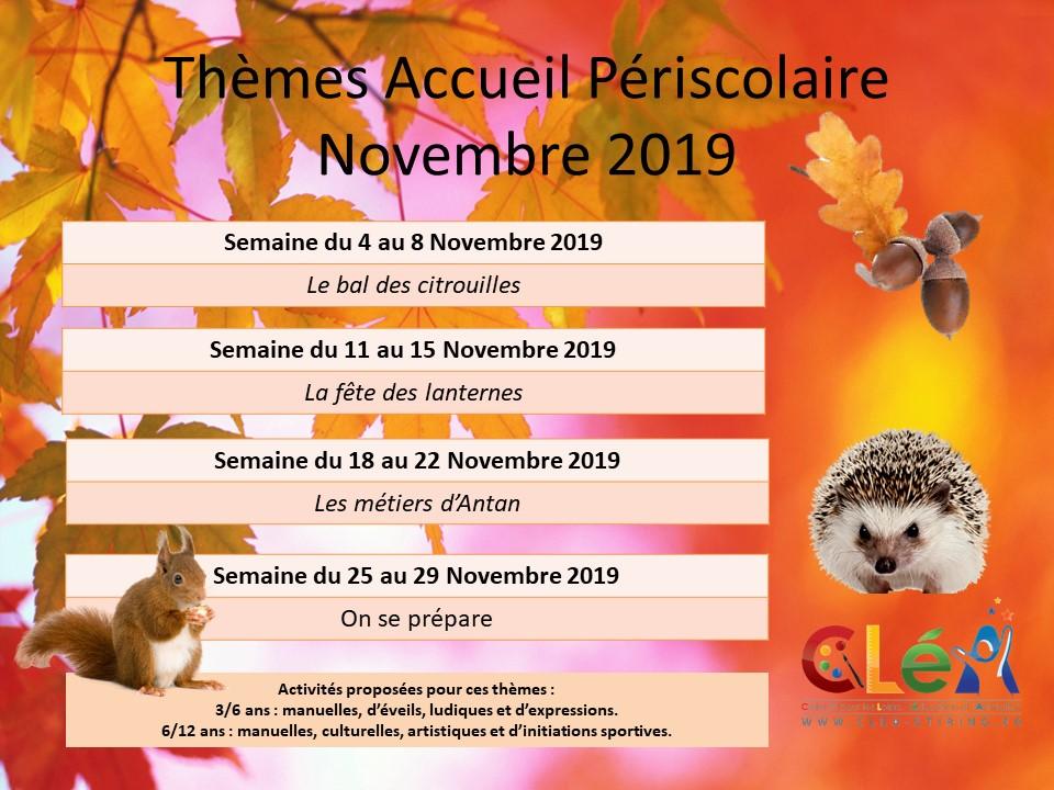 Planning des activités de l'accueil périscolaire du mois de Novembre