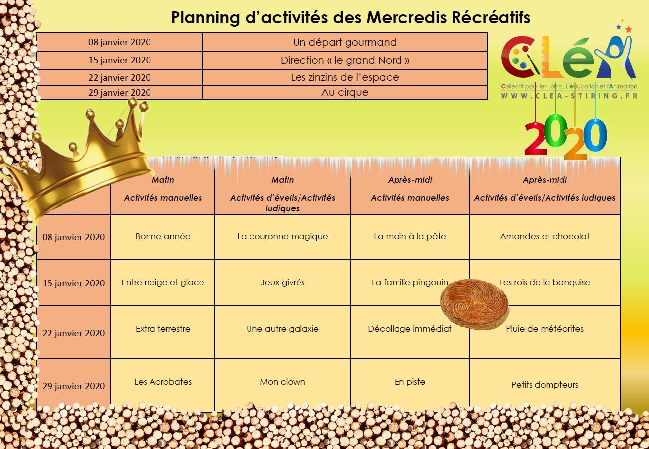 Planning des mercredis récréatifs janvier 2020