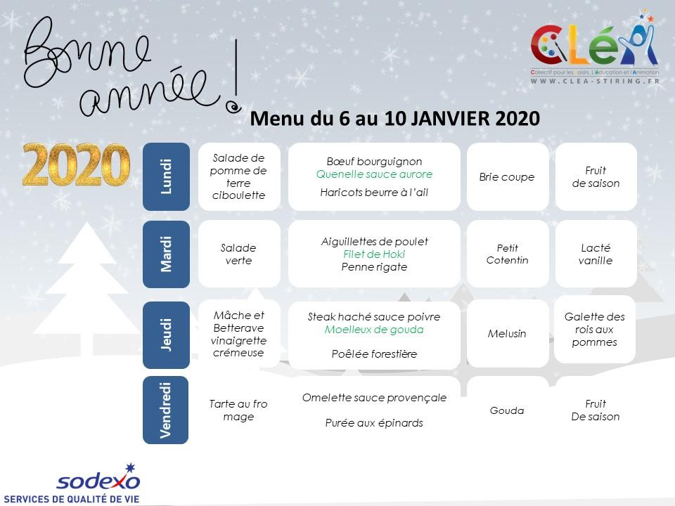 Menu périscolaire Janvier 2020