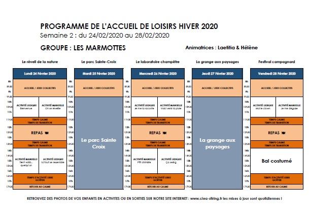 Planning des activités de l'accueil de loisirs Hiver 2020, semaine 2