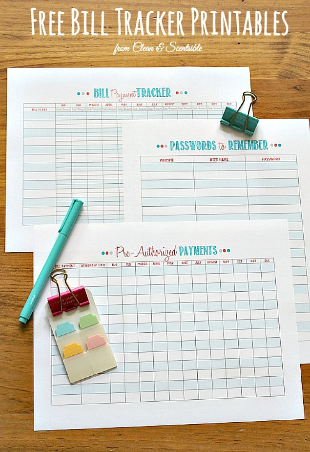 Free Organization Printables Clean And Scentsible