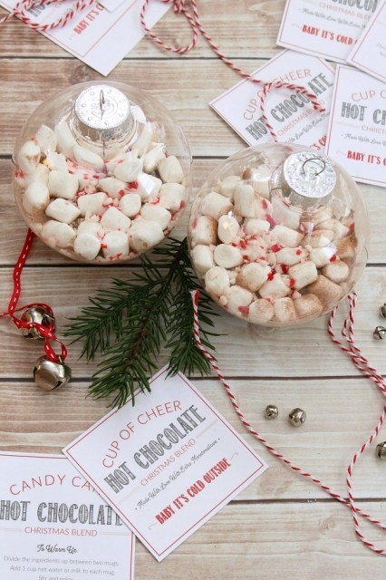 Hot chocolate Christmas gift ornaments.