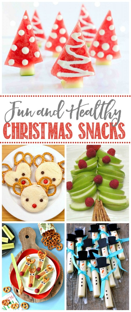 Collection of fun and healthy Christmas snacks.