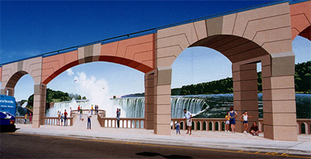 3D Building Art - Building Archway Waterfall