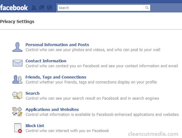 Facebook - Privacy Settings Screen
