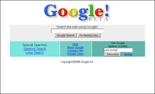 Google 1998 Search Homepage