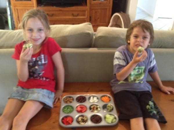 My two cherubs digging in to their Muffin tray lunch that they helped me prepare.