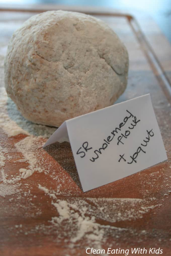Two ingredient pizza dough using wholemeal flour.