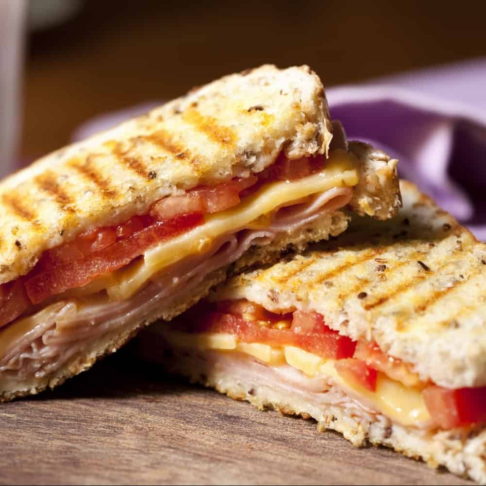 Toasted ham. cheese and tomato