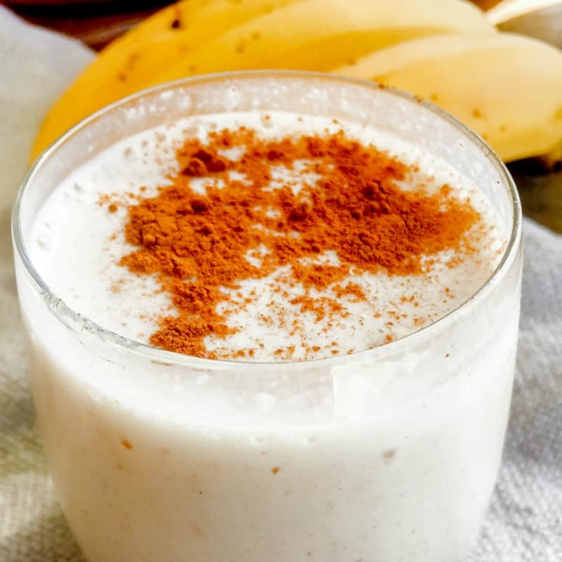 {Clean Eating} Homemade vanilla protein shake is a real food, all natural alternative to powdered protein shakes.