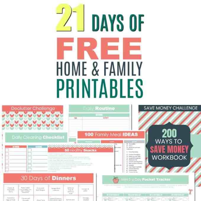 Instant Access: 21 Days of Free Printables. Cleaning Schedules, daily planners, save money, meal planning and more ....