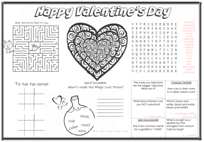 {Free Printable} Valentines Day Place Mat (keep the kids busy and buy yourself a little time for a date with your husband)