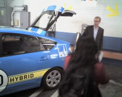Sven Thesen at PG&E demonstrated spinning the meter backwards with their plug-in hybrid Prius with V2G.
