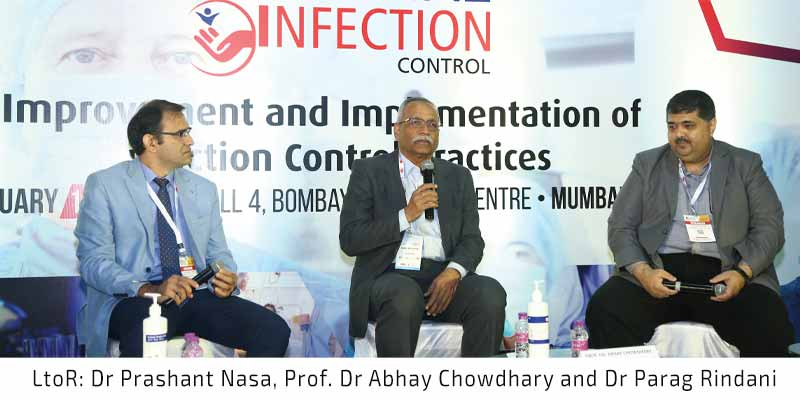LtoR Dr Prashant Nasa, Prof. Dr Abhay Chowdhary and Dr Parag Rindani at Conference on Hospital Infection Control