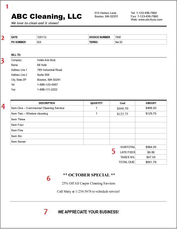 This Is An Example Of A Cleaning Invoice You Would Use In Your Cleaning  Business.  Example Invoice