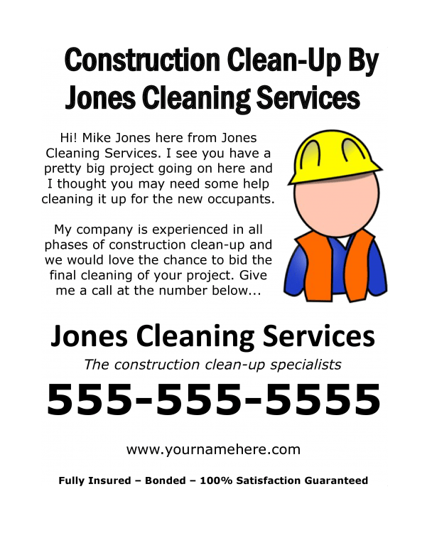 Free construction clean-up sales flyer
