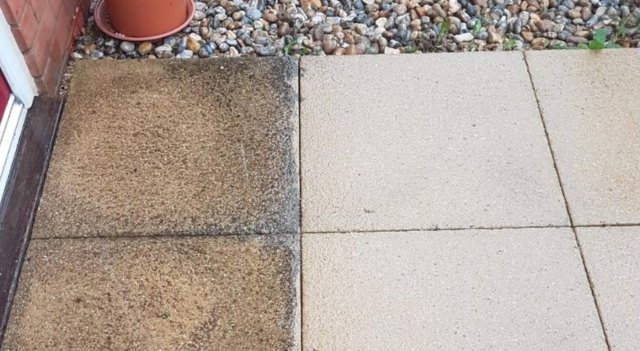 To Remove Black Spots From Patio, Sandstone, and Pavers click Here