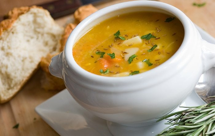 Simple Soup with Carrots, Parsnips, and Scallions