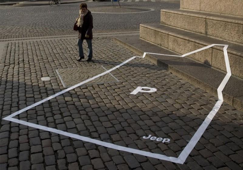 Buiten reclame campagne parkeer plaats over een grote trap